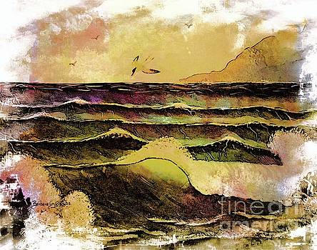 Crashing Waves and Seabird by Barbara Griffin