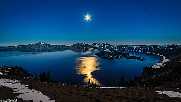 Crater Lake Moonlight by Mike Ronnebeck