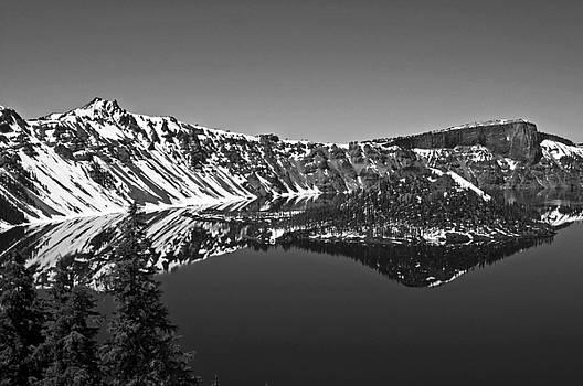 Crater Lake Oregon Black and White by Kristen Vota