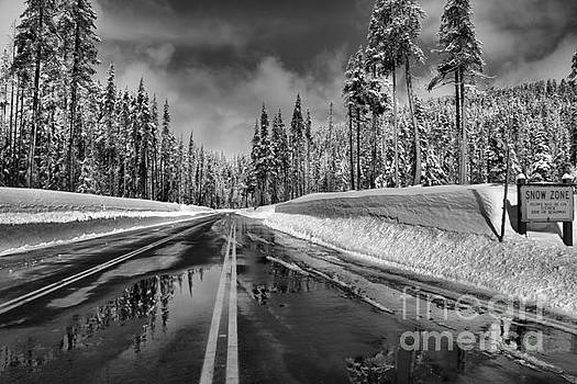 Adam Jewell - Crater Lake Snow Zone - Black And White