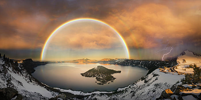 Crater lake with double rainbow and lightning bolt by William Lee
