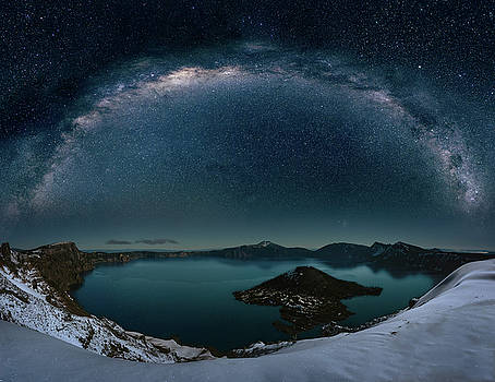 Crater lake with milkyway by William Freebilly photography