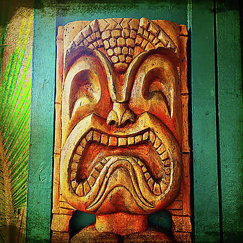 Crazy, fun, fierce, Hawaiian retro wood carving tiki face by Marcia Luce at Luceworks