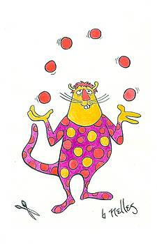 Creature Juggling Polka Dots by Barry Nelles Art