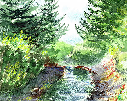 Creek In The Forest Watercolor Painting by Irina Sztukowski