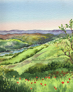 Creek In The Hills Watercolor Landscape  by Irina Sztukowski