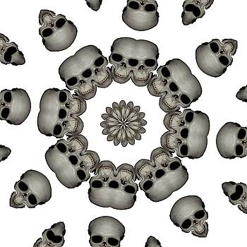 Creepy Human Skull Mandala by Tracey Harrington-Simpson