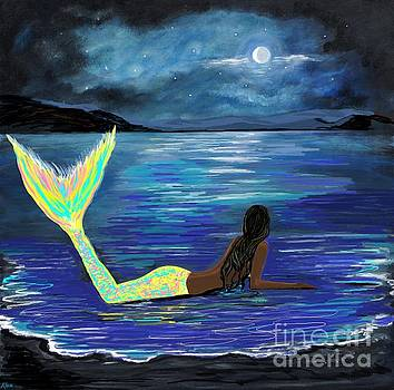 Crescent Moon Bright Mermaid by Leslie Allen