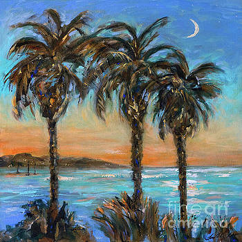 Crescent Moon Over Palms by Linda Olsen