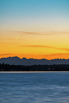 Crescent Moon Sunset by Ken Stanback