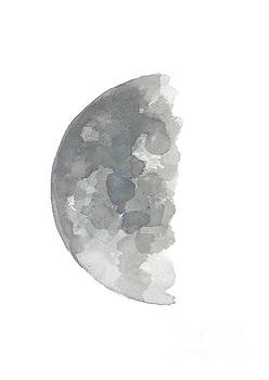 Crescent Moon Watercolor Painting, Silver Blue Gray Abstract Half Moon Art Print  by Joanna Szmerdt