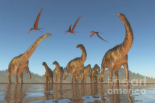 Cretaceous Argentinosaurus Herd by Corey Ford