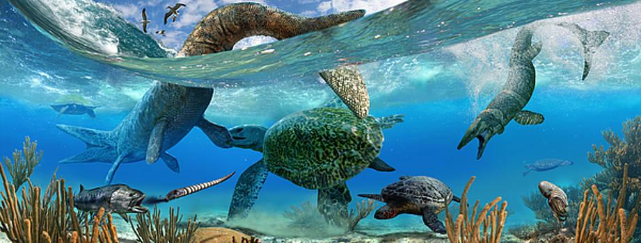 Cretaceous Marine Scene by Julius Csotonyi