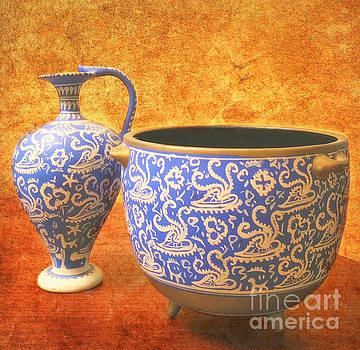 Crete Blue and Gold Jug And Bowl by Beth Ferris Sale