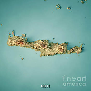 Crete Island Greece 3D Render Topographic Map by Frank Ramspott