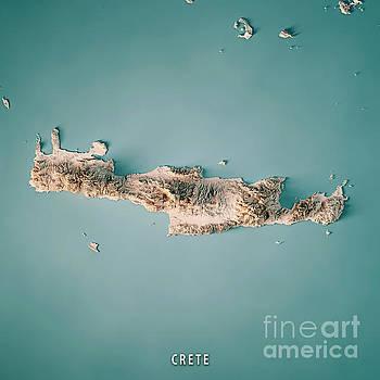 Crete Island Greece 3D Render Topographic Map Neutral by Frank Ramspott