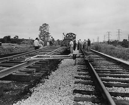 Chicago and North Western Historical Society - Crew With Track Machines - 1957