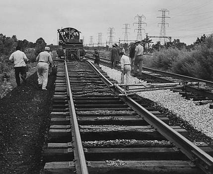 Chicago and North Western Historical Society - Crew Works on Track - 1957