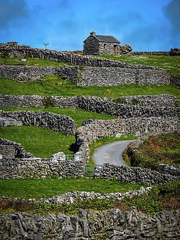 Criss-crossed stone walls of Inisheer by James Truett