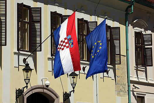 Croatian and European Union Flags  by Sally Weigand