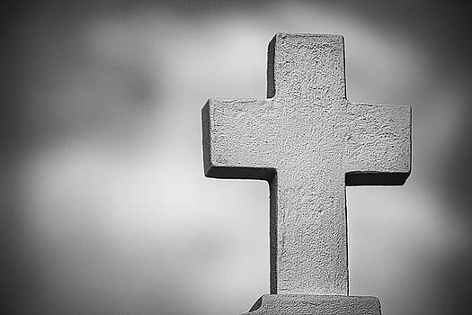 Cross at Saint Roch's bw by Jerry Fornarotto