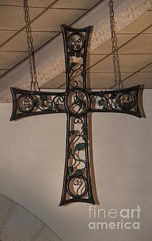 Cross At St. Magdalena Church by Mae Wertz