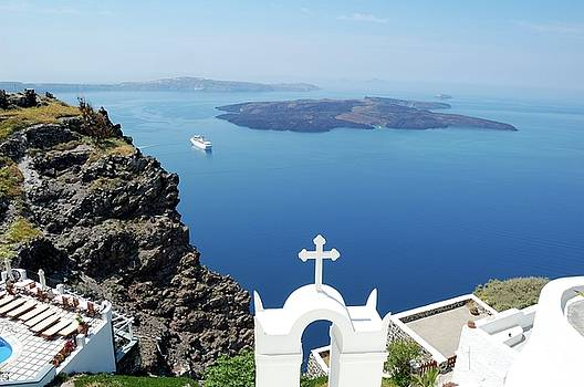 Cross Christian Orthodox Church on Santorini island, Greece by Yuri Hope
