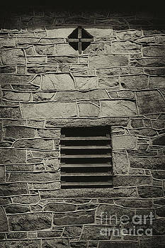 Cross in a Wall Black and White by Karen Adams
