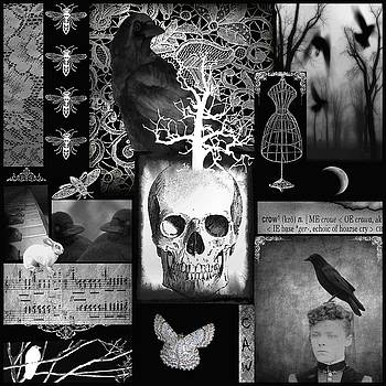 Gothicrow Images - Crow And Lace Gothic Black And White Collage