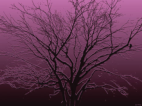Crow in Tree in Mauve by Celtic Artist Angela Dawn MacKay