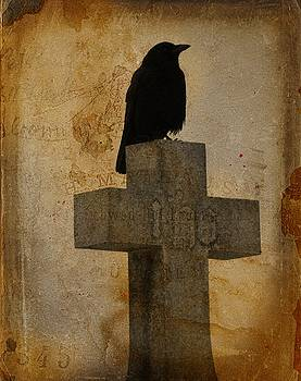 Crow On Cross In Vintage by Gothicrow Images