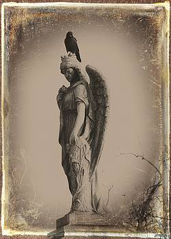 Gothicrow Images - Crow On The Crown Of An Angel