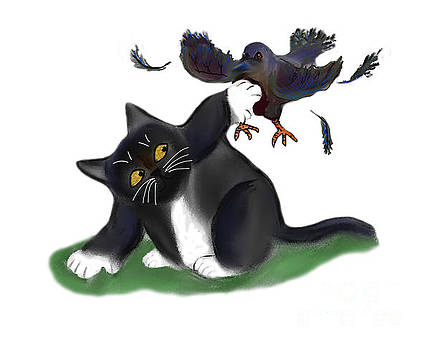 Crow vs. Kitten  by Ellen Miffitt
