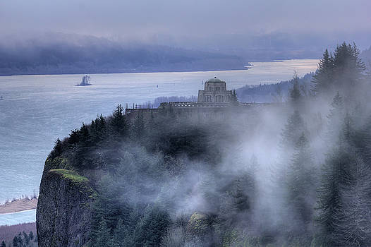Crown Point Vista House Fog Columbia River Gorge Oregon by Dustin K Ryan