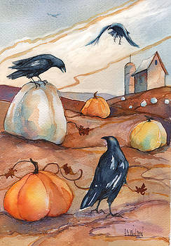 Peggy Wilson - Crows in the Pumpkin Patch