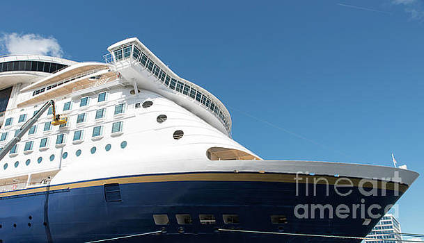 Cruise Ship With Blue Sky Background by Compuinfoto