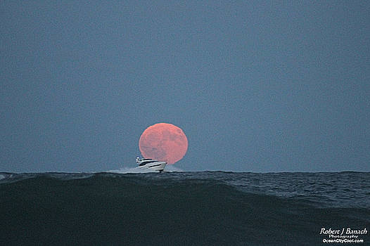 Cruising On A Wave During Harvest Moon by Robert Banach