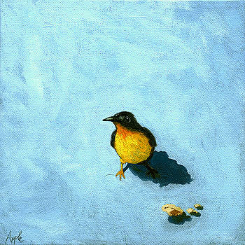 Crumbs -Bird painting by Linda Apple