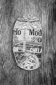Crushed Beer Can Red Chelada on Plywood 83 in BW by YoPedro