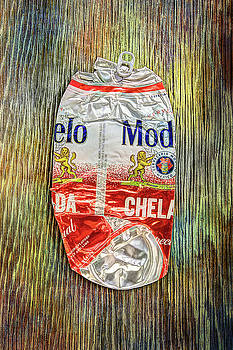 Crushed Beer Can Red Chelada on Plywood 83 by YoPedro