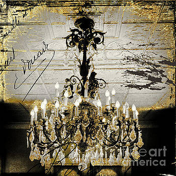 Crystal Chandelier Gold and Silver by Mindy Sommers