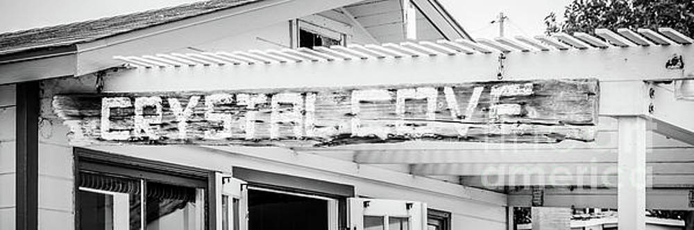 Paul Velgos - Crystal Cove Sign Black and White Panorama