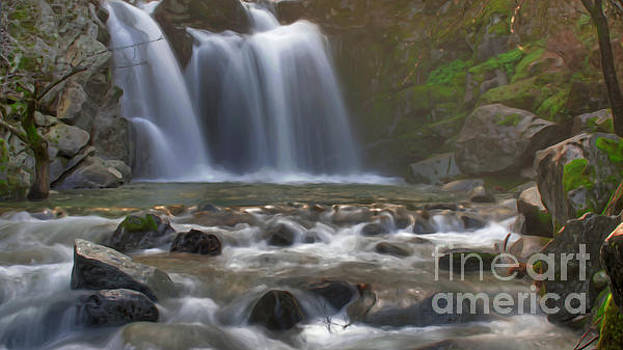 Crystal Creek Falls Digital Paint by Along The Trail