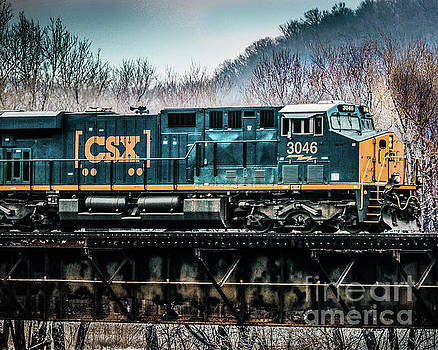 CS X  GE Engine 3046 on Trestle by Thomas Marchessault