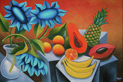 Cuban fruits with blue flower by Dixie Miguez