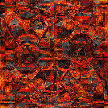 Cubist Abstract Orange Charcoal by Suzanne Powers
