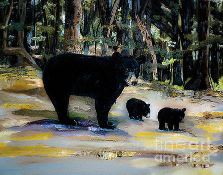 Cubs with Momma Bear - Dreamy version - Black Bears by Jan Dappen