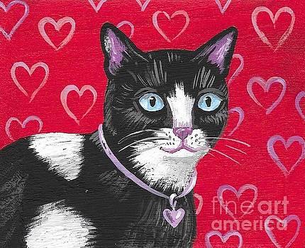 Cuddles The Tuxedo Cat by Margaryta Yermolayeva