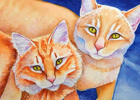 Cuddling Orange Tabby Cats by Rachel Armington