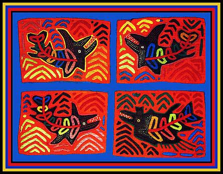Cuna Indian Tribal Sharks by Vagabond Folk Art - Virginia Vivier